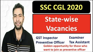 SSC CGL 2020 State-wise Vacancies  CBIC Department  GST Inspector  Preventive officer🤩 Examiner  TA