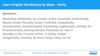 Learn English Vocabulary by Maya - Verily