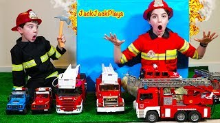 Pretend Play Firefighter Skit with Bruder Fire Truck Toys and Costumes