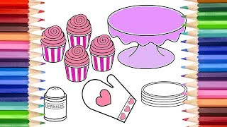 How to Draw a Cupcake Baking Set Watch and print you