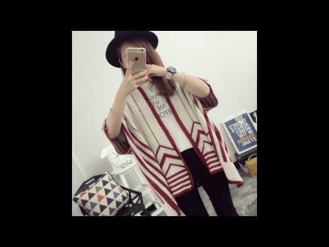 4T - Áo Khoác Len Kimono Sọc đỏ Mã B2806