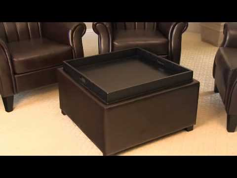 Silvio Tray Top Bonded Leather Storage Ottoman