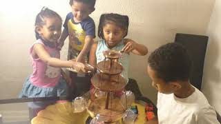 Fun, play time, Siblings, play house, toddler fun day, at home with our Chocolate fountain machin!!