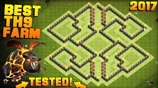 Clash of Clans | No.1 BEST TH9 FARMING BASE 2017 + PROOF | CoC NEW Town Hall 9 Base with Bomb Tower