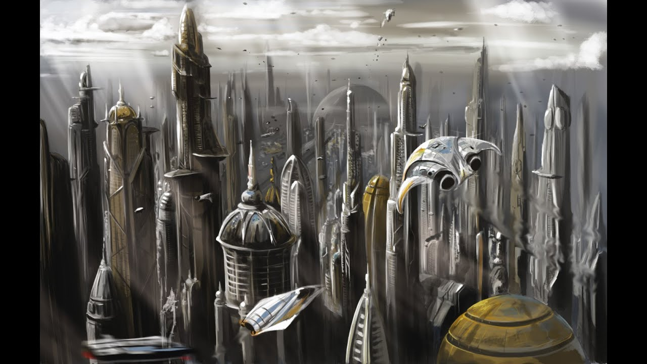 Sci Fi City Photoshop Painting Youtube