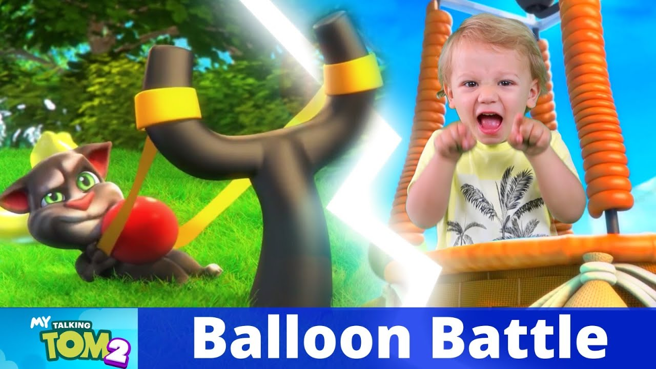 My Talking Tom 2 in REAL LIFE Balloon Battle with Alex and Kirill