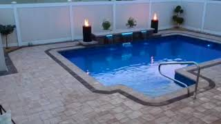 Cambridge Paver Pool Patio with Fire and Waterfalls - Queens, NY