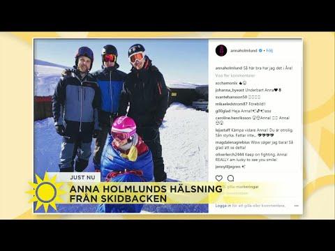Anna Holmlunds skidhälsning från Åre - Nyhetsmorgon (TV4)