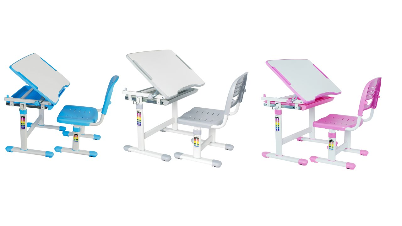 childs desk and chair blue folding covers height adjustable childrens by vivo youtube