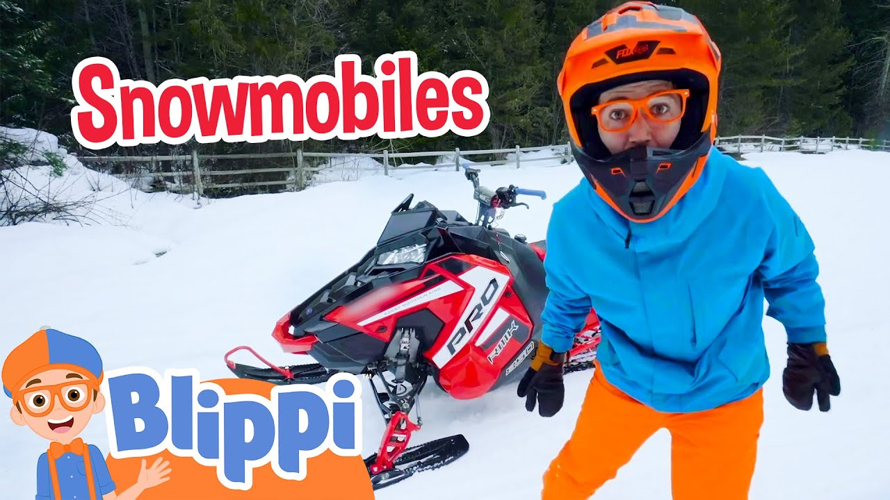 Blippi Explores A Snowmobiles | Vehicle Videos For Kids | Educational Videos For Toddlers