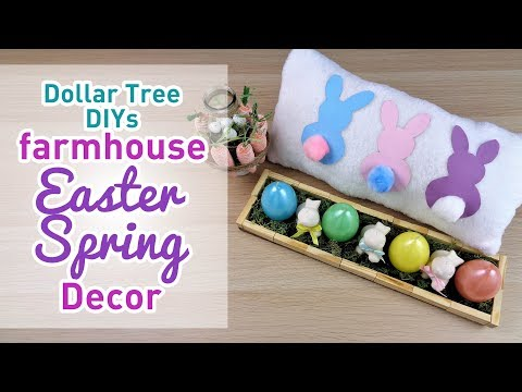 Farmhouse Style Easter Spring Decor - Dollar Tree DIY - Quick, Easy, Inexpensive