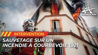 Les pompiers de Paris interviennent pour un violent feu d'appartement à Courbevoie (92)