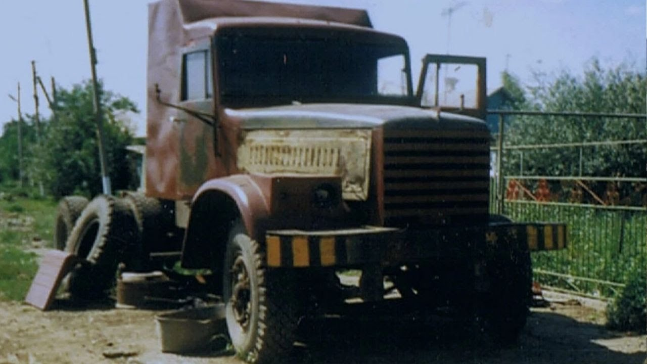 Старый тягач КрАЗ из металлолома   ТЯГАЧ из СССР