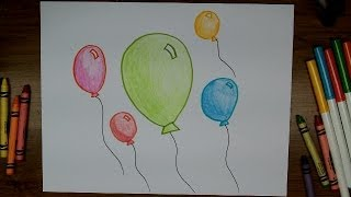 How To Draw Balloons - Very Easy Beginner Drawing Lesson for Kids