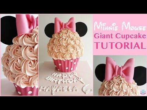 MINNIE MOUSE GIANT CUPCAKE TUTORIAL | Abbyliciousz The Cake Boutique