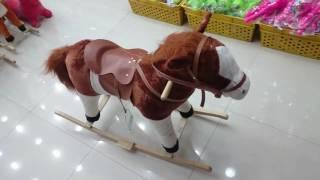 لعبة الحصان الهزاز للأطفال (كبير - بني فاتح)