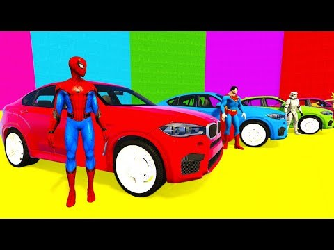 Thumbnail: COLOR SUV Cars Transportation for Babies & Kids Superheroes Spiderman Cartoon Animation 3d