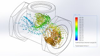 Solidworks. Flow Simulation на русском. Расчет скорости потока.