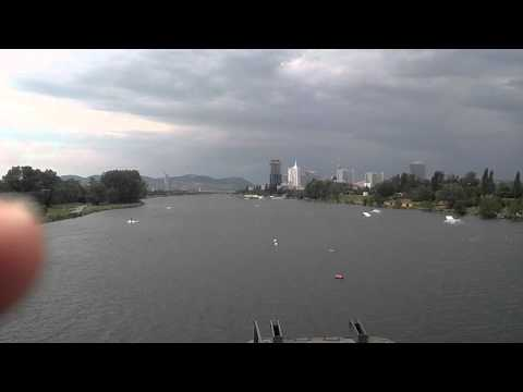 Cable Wakeboarding on Danube river in Vienna, Austria