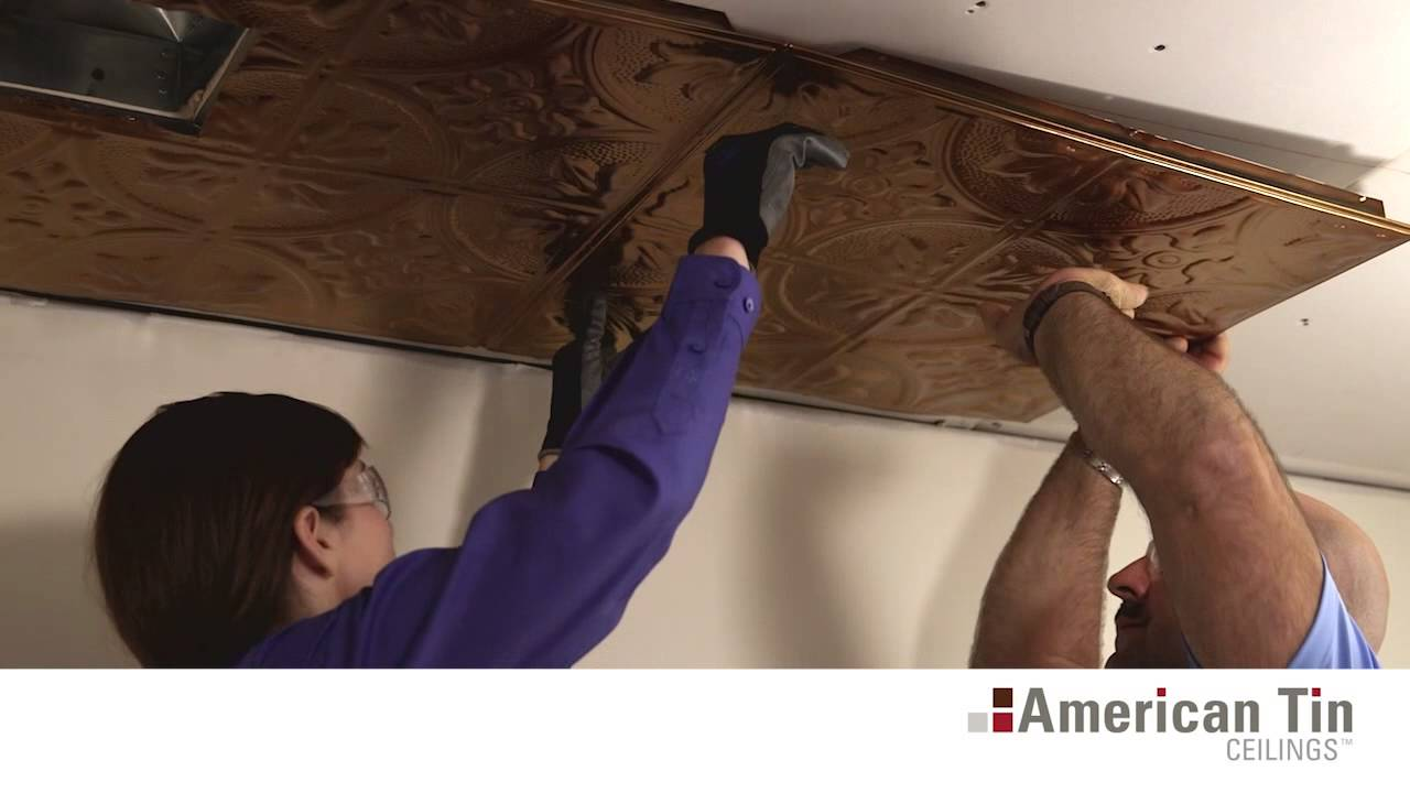 Drywall and popcorn tin ceiling tile installation american tin drywall and popcorn tin ceiling tile installation american tin ceilings youtube dailygadgetfo Gallery