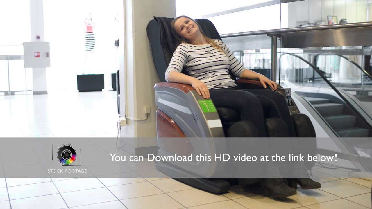Armchair On Youtube Woman Relaxing In Massage Chair Youtube