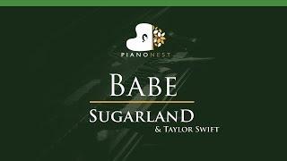 Sugarland - Babe ft. Taylor Swift - LOWER Key (Piano Karaoke / Sing Along)