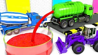 Learning Colors For Children With Street Vehicles and Water Tanks Truck for Kids