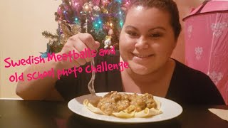 Swedish meatballs with pasta mukbang(eating show) Old school photo challenge(The C Squad)