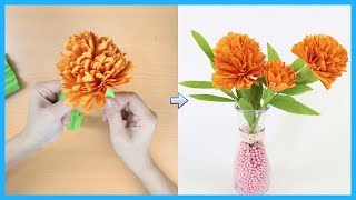 How To Make Tagetes Paper Flower From Crepe Paper | DIY Paper Flower