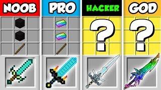 Minecraft NOOB vs. PRO vs. HACKER vs GOD: LIGHTNING SWORD CRAFTING CHALLENGE in Minecraft!