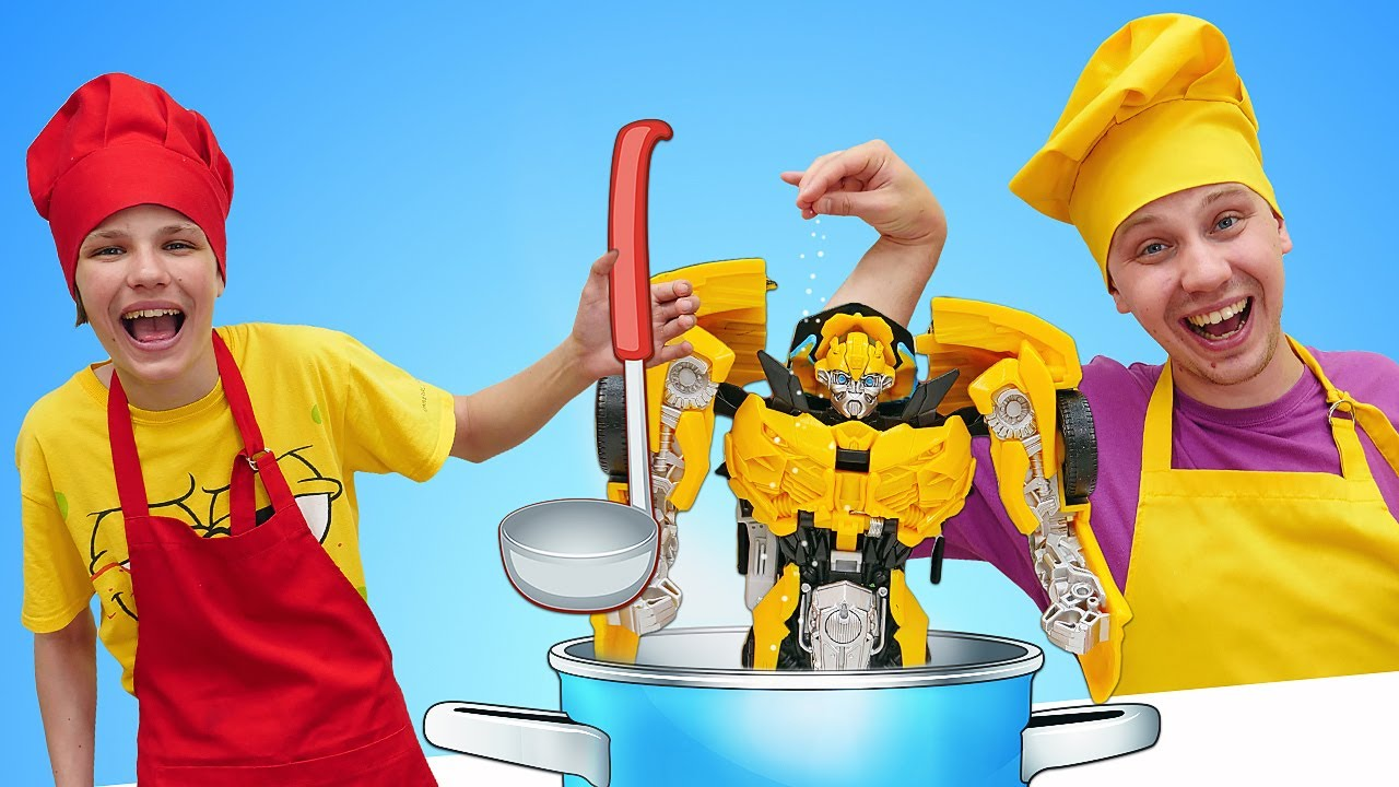 Роботы Трансформеры - Вкусняшки для БАМБЛБИ от Полицейской Академии! - Смешные видео игры готовить