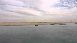 Drilling in the new Suez Canal scene from the east bank of the current channel
