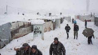 レバノン:難民を直撃する冬の嵐