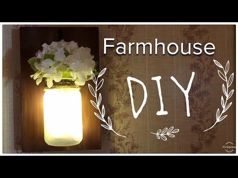Dollar Tree DIY | Farmhouse Decor | Mason Jar Sconce