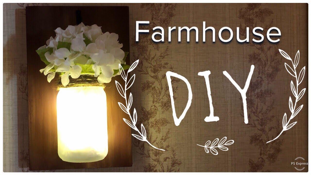 Dollar Tree DIY | Farmhouse Decor | Mason Jar Sconce - YouTube