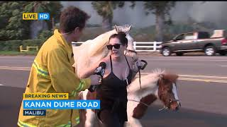 Mandatory and evacuations are underway in Ventura and Los Angeles counties after two separate brush fires erupted within miles of each other Thursday.