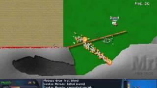 OpenLieroX: castle strike level, cruel mod, same weapons as host worm