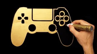 How To Draw Gold PS4 Joystick   Speed Drawing   Draw With Denis   Playstation