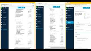 QuickBooks Online: How to tile vertically two reports (or more) side by side on the same screen