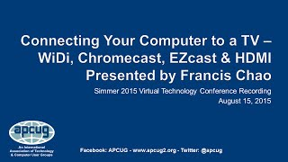 Connecting Your Computer to a TV - Francis Chao - APCUG