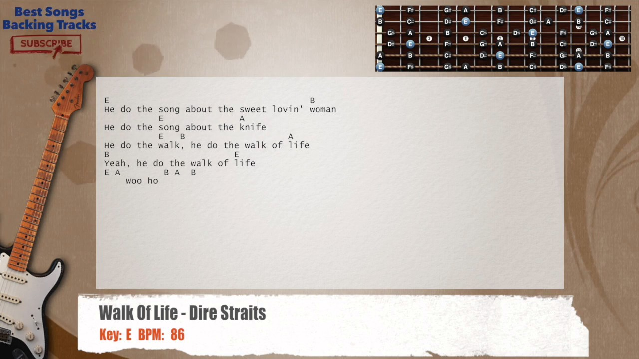 Walk Of Life Dire Straits Guitar Backing Track With Chords And