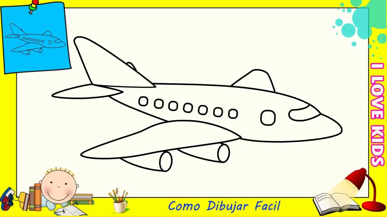 Como dibujar un avion facil paso a paso para ni os y principiantes 3 youtube - Dessin d avion facile ...