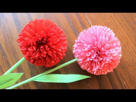 How To Make Round  Paper Flower - DIY Paper Craft