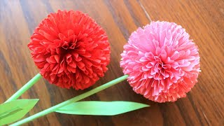 How To Make Round  Paper Flower - DIY Paper Craft