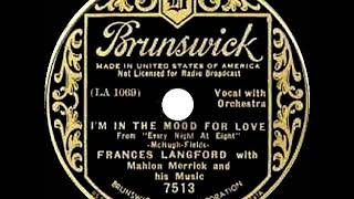 1935 HITS ARCHIVE: I'm In The Mood For Love - Frances Langford