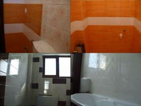 Interioare baie apartament placat gresie faianta alba si for Gresie si faianta baie