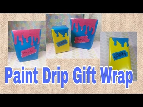 Easy DIY Gift Wrapping Ideas – Paint Drip Effect