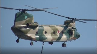チヌークが巨大バケツで消火訓練 U-125A & UH-60J & CH-47J 飛行展示【...