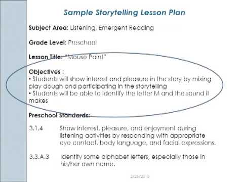 Early Childhood Literacy Lesson Planning Video YouTube – Lesson Plan Objectives