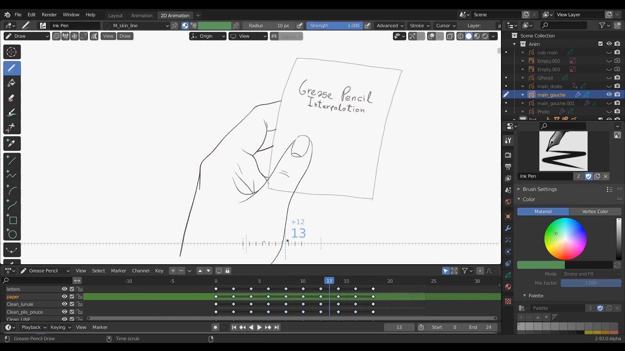 Grease Pencil Interpolation Tool | Blender 2.93α